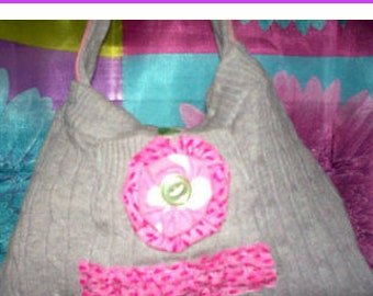 Grey Sweater Purse, Handmade Repurposed Girl's Handbag