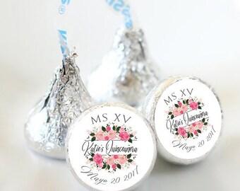 108 Quinceañera Hershey Kiss® Stickers - Hershey Kiss Stickers Birthday - Personalized Hershey Kiss Labels - Birthday Hershey Kiss Seals