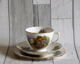 Four Vintage Royal Vale Country Cottage Trio Cups and Saucers