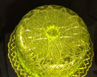 Vintage Clear Green Dome Cake Plate Acrylic