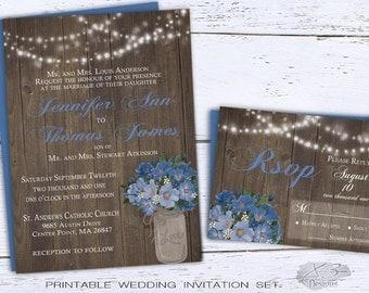 Mason Jar Wedding Invitation, Rustic Backyard Wedding Invite, DIY String Lights & Blue Wild Roses Flowers, Printable Barn Wedding Invite