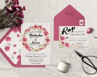 Printable Floral Wedding Invitation, Rustic Wedding Invite, Watercolor Wedding, Country Wedding Invitations, Boho Wedding Invite