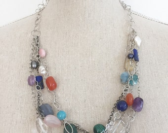 Multi Strand Gemstone and Silver Necklace, One of a Kind Statement Necklace, Gifts Ideas, Christmas Gifts for Wife