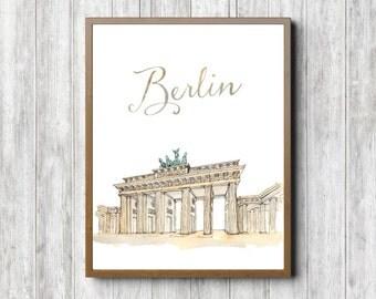 Berlin, Germany Printable Art Poster - Brandenburg Gate Art - Watercolor Famous Landmark / Monument Wall Art - Travel Wall Decor / Gift