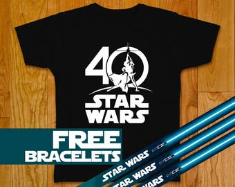 New Star Wars 40th Anniversary T-shirt - Three Free Star Wars Bracelets - Shirt Star Wars Art Star Wars Gift Star Wars Party