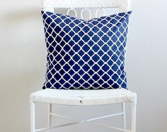 Navy Blue Quatrefoil Pillow covers, Quatrefoil Couch Pillow Cover, Navy Blue Decorative Throw Pillow, Quatrefoil Euro Sham, Blue Pillow Sham