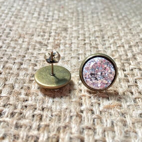 Silver Druzy Studs, Druzy Stud Earrings, Metallic Druzy Studs, Druzy Post Earrings, Gemstone Earrings, Faux Druzy Studs, Faux Druzy Jewelry