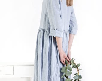 Linen dress, Long sleeved linen dress, Linen tunic dress, Loose linen clothing, oversized long dress, smock style dress, loose dress, linen