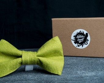 Dog Bowtie - Collar accessories - Handmade felt bow tie - idea gift for dogs and puppies - Green