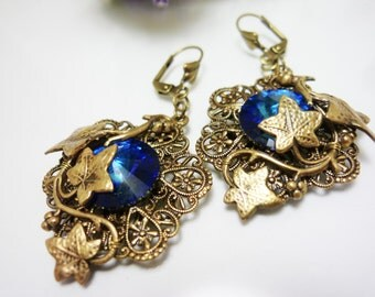 "Victorian earrings Filigree elegant earrings Blue earrings Dangle earrings Antiqued Victorian Ornate earrings Swarovski earrings ""Gloria"""