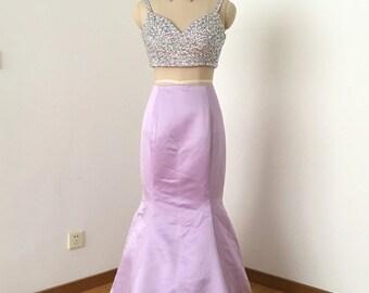 Two Piece Mermaid Spaghetti Straps Lilac Satin Long Prom Dress 2017