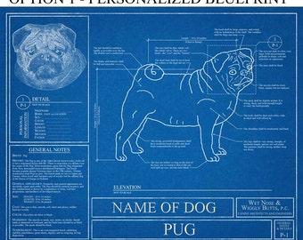 Personalized Pug Blueprint / Pug Art / Pug Wall Art / Pug Gift / Pug Print / Pug Poster