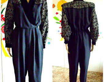 80's Black Jumpsuit/Shoulder Pads/Velvet And Gold Lame Leaf Design/Size 8/Vintage Jumpsuit/Evening Suit/1980's