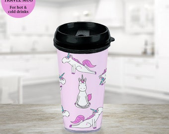 Travel Mug Unicorn Yoga also available in Plastic Cup With Lid and Straw  - BPA FREE - Coffee Cup