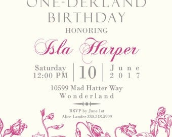Wonderland Birthday Invitation