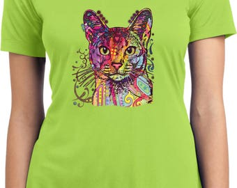 Ladies Neon Abyssinian Cat Moisture Wicking V-neck Tee T-Shirt 18489HL2-LST353