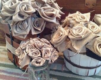 "10 Handmade burlap roses -12"" stem or 6"" stem"