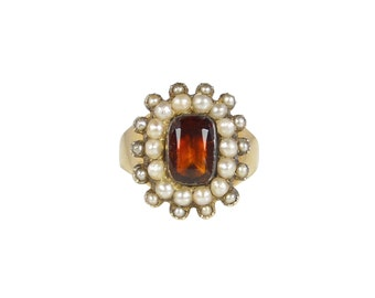 Antique Garnet And Pearl Ring, In 15ct Gold, Garnet Ring, Antique Pearl Ring, Georgian Ring, Antique Rings, Spessartine Garnet Ring