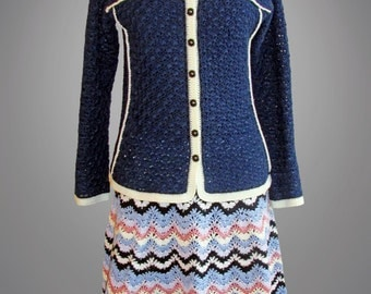 Crochet jacket Tess. Blue crochet Chanel style cotton jacket. Made to order. Free shipping.