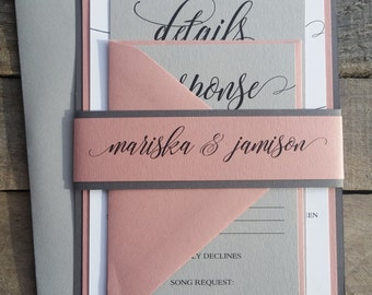 Wedding Invitations, Grey and Dusty Rose, Mauve, Grey and Pink wedding invitations