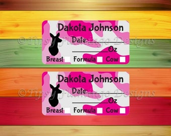 160 Removable Baby Bottle Labels, Personalized Breast Milk Labels for Babies, Formula Labels, Daycare Labels, Milk Labels, Pink Camo -TFD473
