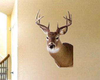 Deer Head Wall Decor deer head wall decal | etsy