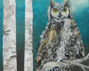 Owl painting, Owl gifts,Owl lover gift,Owl wall art,Owl oil painting,Owl art, hand painted owl,Owl home decor,Owl decor, birch tree and owl,