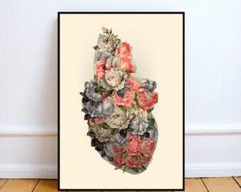 """Human heart art, surreal wall art, flowers art print, heart print art, surreal collage art, human heart, anatomy art - """"Heal your heart""""."""