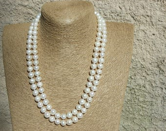Necklace pearls 9-10 mm with 114 beads and 1 m 10
