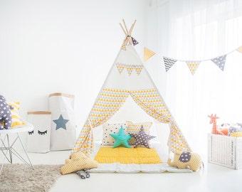 "FREE SHIPPING teepee ""Yellow-gray triangles"", kids teepee play tent wigwam, children's teepee, playtent, kids teepee, tent, play teepee"