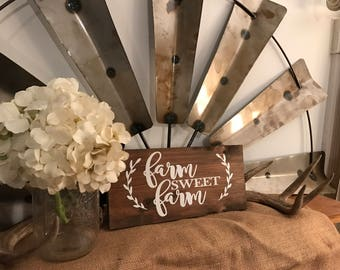 Farm Sweet Farm Sign-Wood Sign-Stained Wood-Living Room-Farmhouse Decor-Rustic-Southern-Farm life-Farm Decor-Farm-Home Decor-Home Sweet Home