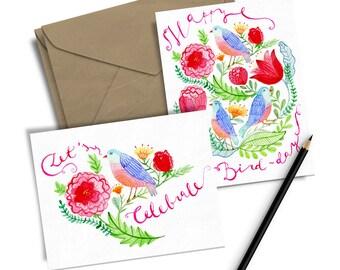 Happy Birthday Greeting Card, Birthday Watercolour Card, Birthday Postcard, Celebration Greeting Card, Watercolor Print, Floral Postcard