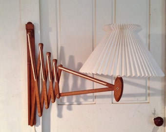Le Klint teak scissors lamp with hand-made pleated shade (Large size)***FREE SHIPPING***