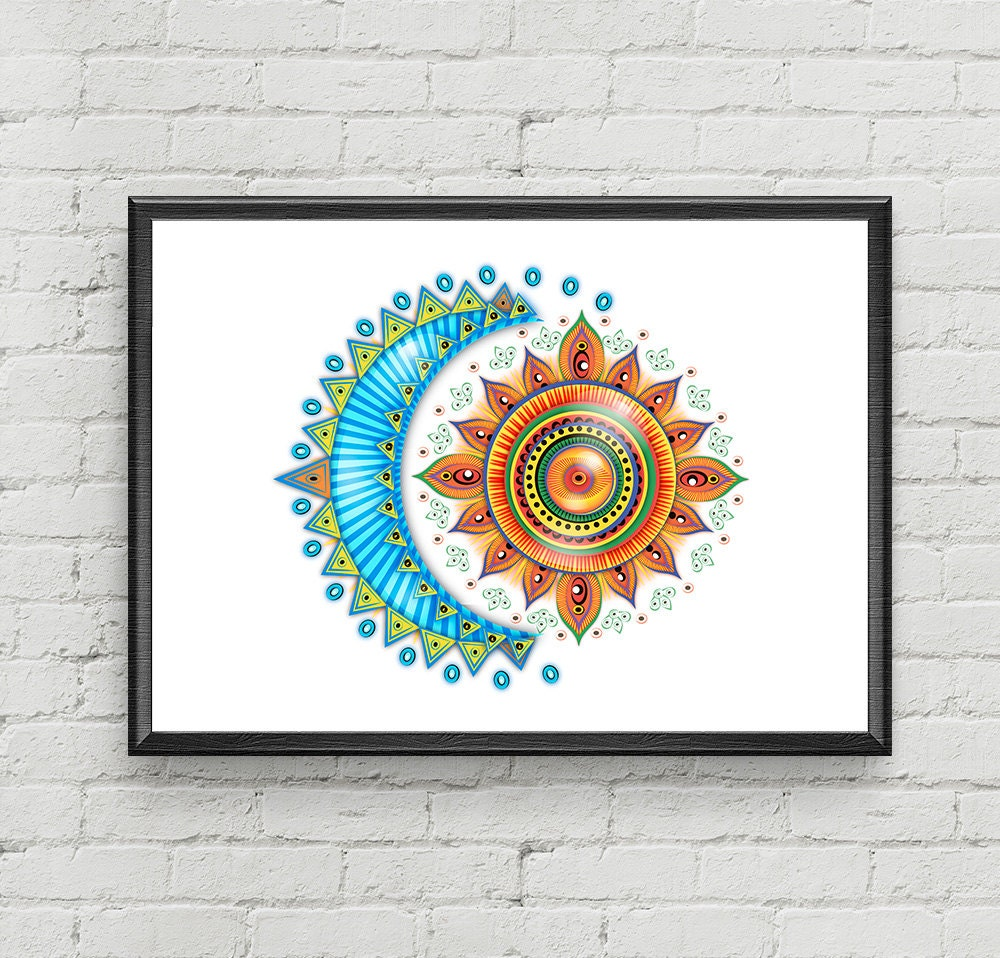 Moon Sun Art/ Moon and Sun Print Art/ Moon Wall Decor/ Sun