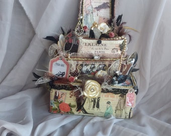 Altered art boxes, faux cake, Paris altered tin, Party centerpiece, Mixed media box,  French party decor,Bridal shower decor,floral display