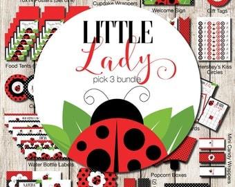 Ladybug Party Pack Kit, Ladybug Printables, Ladybug Printable Party, Ladybug Shower Printables, Ladybug Party Package, Ladybug Decorations
