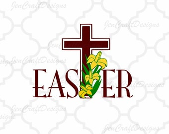 Easter Christian Cross Svg, Easter SVG,EPS,Dxf,Png. Svg Files for Cricut,   Svg files for Silhouette Instant Download