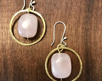 Rose Quartz Earrings, Light Pink Earrings, Pink and Gold, dress it up or down, brass and pink earrings, hammered metal earrings, unique