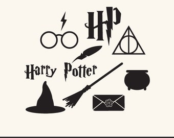 PNG, SVG and DXF File - Harry Potter Set, Logo, Hogwarts, Silhouettes, Clipart, Vector, Instant Download