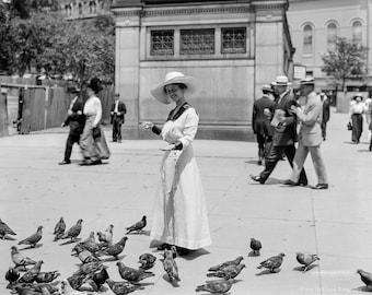 Photo of Woman Feeding Pigeons, Boston Commons, 1910-15