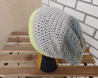 40% OFF SUMMER SALE! Grey and Neon Yellow Slouch Beanie // Crochet Flop Beanie // Knit Slouchy Hat