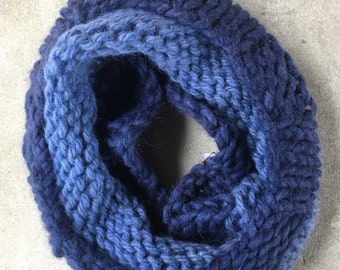 Chunky Blue Knit Cowl