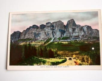 Real Photograph Postcard / Castle Mountain Alberta Postcard /hand Coloured