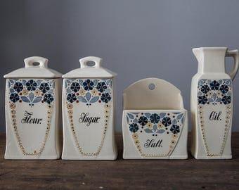 Vintage German Canister Set Flour Sugar Salt Oil