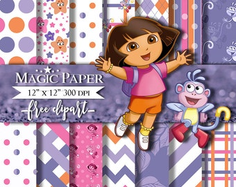 50% OFF SALE Dora the Explorer Digital Paper Clipart Clip Art, Digital Papers, Cliparts