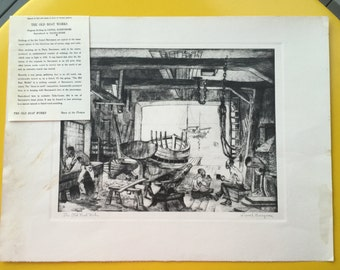 Reproduction of Lionel Barrymore Etching The Old Boat Works / Vintage Print entitled The Old Boat Works by Lionel Barrymore