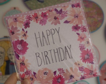 Floral Birthday Card - Watercolour Flowers with Hand Lettering in Pink & Purple
