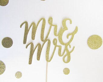 Mr and Mrs Cake Topper, Wedding Cake Topper, Engagement Cake Topper, Bridal Shower Cake Topper, Glitter Cake Topper, Mr and Mrs Gold Topper