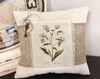 Pillow - Handmade Decorative Burlap Accent Botanical Pillow