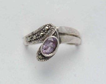 Vintage ring - amethyst ring - silver ring - marcasite ring - woman ring